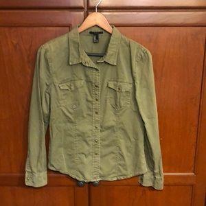 Forever 21 M Cotton khaki shirt snap closure